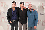 Spanish actors Luis Tosar (R) and Asier Etxeandia (L) and movie director Julio Medem pose during the `Ma Ma´ film presentation in Madrid, Spain. July XX, 2015. (ALTERPHOTOS/Victor Blanco)