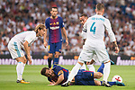 Real Madrid's Luka Modric, Lucas Vazquez and Sergio Ramos and FC Barcelona's Leo Messi during Supercup of Spain 2nd match at Santiago Bernabeu Stadium in Madrid, Spain August 16, 2017. (ALTERPHOTOS/Borja B.Hojas)