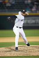Charlotte Knights relief pitcher Aaron Bummer (16) in action against the Toledo Mud Hens at BB&T BallPark on April 23, 2019 in Charlotte, North Carolina. The Knights defeated the Mud Hens 11-9 in 10 innings. (Brian Westerholt/Four Seam Images)