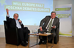 """Brussels - Belgium, December 10, 2014 -- """"Will Europe Fail? Joschka Debates Europe."""" a presentation of a book written (published) by and discussion with Joschka Fischer (le), the Green former Vice-Chancellor and Foreign Affairs Minister of Germany, organized by the European Green Party at the Representation of the State of Hessen to the EU ; here, with Moderator: Reinhard Bütikofer MEP (ri), Co-Chair of the European Green Party -- Photo: © HorstWagner.eu"""