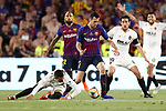 FC Barcelona's Sergio Busquets (c) and Valencia CF's Rodrigo Moreno (l) and Daniel Parejo during Spanish King's Cup Final match. May 25,2019. (ALTERPHOTOS/Carrusan)