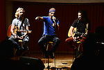 MIAMI, FL - MAY 04:  (Exclusive Coverage) Guitarist Miki Ramirez, Vocalist Daniel 'Mono Loco' Carbonell and guitarist Tomas Tirtha Rundquist of musical band Macaco Performs and pose for portrait during Sony Music Latin album showcase on May 4, 2015 in Miami, Florida.  ( Photo by Johnny Louis / jlnphotography.com )