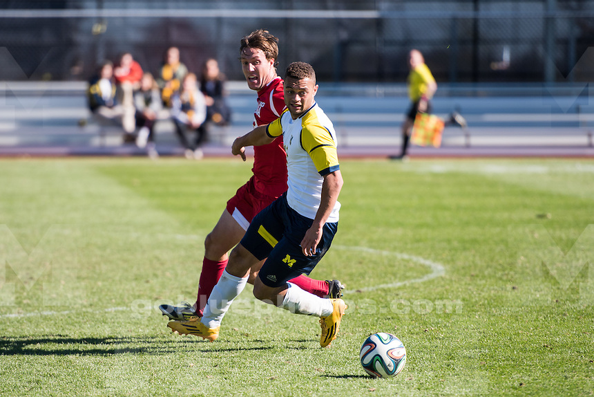 The University of Michigan men's soccer team falls to Indiana, 3-1, at the U-M Soccer Stadium in Ann Arbor, Mich. on October 26, 2014.
