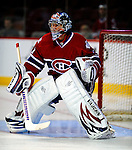 11 November 2008: Montreal Canadiens' goaltender Carey Price warms up prior to facing the Ottawa Senators at the Bell Centre, in Montreal, Quebec, Canada. The Canadiens shut out the Senators 4-0 as the Habs celebrate their 100th Season...Mandatory Photo Credit: Ed Wolfstein Photo *** Editorial Sales through Icon Sports Media *** www.iconsportsmedia.com