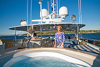 Denise Rich, on board Lady Joy, moored off St Tropez, France, 23rd July 2010
