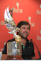 Robert Rock (ENG) speaking to the media after his win at the Abu Dhabi HSBC Golf Championship, Abu Dhabi GC,Abu Dhabi,United Arab Emirates.Picture Fran Caffrey www.golffile.ie