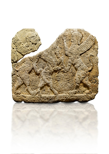 Picture & image of Hittite relief sculpted orthostat stone panel of Herald's Wall Limestone, Karkamıs, (Kargamıs), Carchemish (Karkemish), 900-700 B.C. Anatolian Civilisations Museum, Ankara, Turkey.<br /> <br /> Two sphinxes standing on their hind legs on both sides attack to the winged horse standing on its hind legs in the middle.  <br /> <br /> Against a white background.
