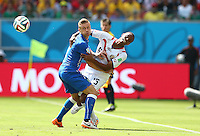 Junior Diaz of Costa Rica is fouled by Ignazio Abate of Italy