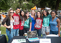 Occidental College students offer information about Dance Production as part of the Community Resource Fair for admitted students and their parents on the Occidental College campus during Experience Oxy! Admitted Student Day, April 18, 2014. (Photo by Marc Campos, Occidental College Photographer)