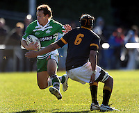Manawatu fullback Craig Clare tries to step round Shahn Eru. Rugby - Wellington v Manawatu Turbos ITM Cup preseason match at Trust Porirua Park, Porirua, Wellington on Friday 16 July 2010. Photo: Dave Lintott/lintottphoto.co.nz