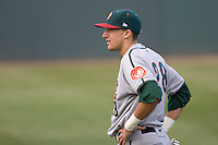 June 22, 2008:  Drafted 41st overall by the Chicago Cubs out of Vanderbilt University, Boise Hawks shortstop Ryan Flaherty prepares for a Northwest League game against the Everett AquaSox at Everett Memorial Stadium in Everett, Washington.