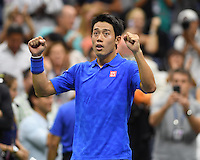 FLUSHING NY- SEPTEMBER 07: Kei Nishikori reacts after winning his match against Andy Murray on Arthur Ashe Stadium at the USTA Billie Jean King National Tennis Center on September 7, 2016 in Flushing Queens. Credit: mpi04/MediaPunch