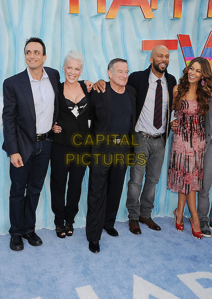 Hank Azaria, Alecia Moore (Pink), Robin Williams, Common (Lonnie Rashid Lynn, Jr.), Sofia Vergara.The World Premiere of 'Happy Feet Two' held at The Grauman's Chinese Theatre in Hollywood, California, USA..November 13th, 2011.full length jeans denim blue shirt black jacket lace cleavage white tie beard facial hair print dress strapless .CAP/ROT/TM.©Tony Michaels/Roth Stock/Capital Pictures