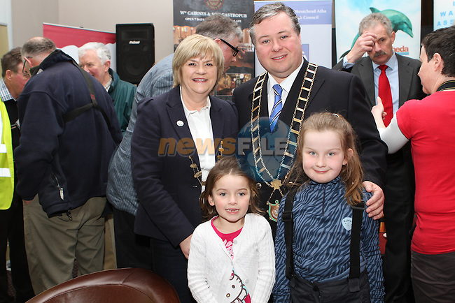 Vice President of the Inland Waterways Association of Ireland Carmel Meegan and Mayor Paul Bell with Muireann and Abbie Meegan during the IWAI Power Boat Branch visit to Drogheda...(Photo credit should read Jenny Matthews/NEWSFILE)...