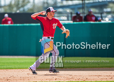 11 March 2014: Washington Nationals infielder Mike Fontenot in action during a Spring Training game against the New York Yankees at Space Coast Stadium in Viera, Florida. The Nationals defeated the Yankees 3-2 in Grapefruit League play. Mandatory Credit: Ed Wolfstein Photo *** RAW (NEF) Image File Available ***