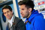 Getafe's new player Leandro Daniel Cabrera (r) with the General Manager Ramon Planes during his official presentation. January 16, 2018. (ALTERPHOTOS/Acero)