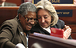 Former Nevada Sens. Bernice Mathews, left, and Dina Titus hug during a ceremony on the Senate floor Tuesday, April 19, 2011, at the Legislature in Carson City, Nev. .Photo by Cathleen Allison