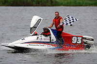 Winner Mark Schmerbach, (#6) gets a victory lap from 2nd place finisher R.J. West, (#93) when his boat would not re-start. (SST-45 class)