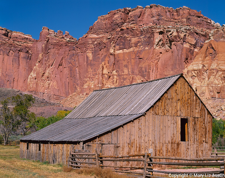 Capitol Reef National Park, UT<br /> The Gifford barn at Fruita and the red cliffs of Capitol Reef