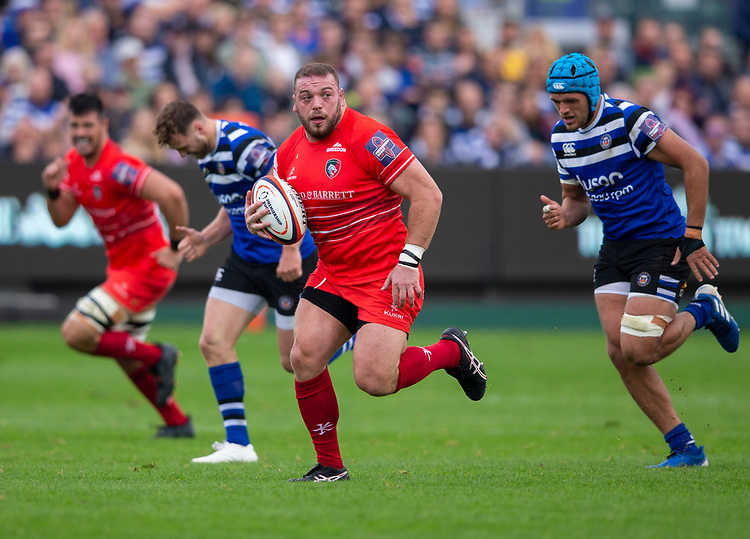 Leicester Tigers' Greg Bateman in action during todays match<br /> <br /> Photographer Bob Bradford/CameraSport<br /> <br /> Premiership Rugby Cup Round Three - Bath Rugby v Leicester Tigers - Saturday 5th October 2019 - The Recreation Ground - Bath<br /> <br /> World Copyright © 2018 CameraSport. All rights reserved. 43 Linden Ave. Countesthorpe. Leicester. England. LE8 5PG - Tel: +44 (0) 116 277 4147 - admin@camerasport.com - www.camerasport.com