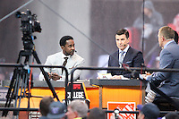 12 November 2016:   ESPN Game Day TV hosts (Left) Desmond Howard and Rece Davis chat on set during live filming of ESPN Game Day before the game between Washington and USC at the University of Washington in Seattle, WA.