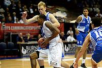 GRONINGEN - Basketbal, Donar - Landstede Zwolle, Supercup seizoen 2017-2018, 05-10-2017, Donar speler Jason Dourisseau met Landstede speler Olaf Schaftenaar
