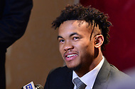New York, NY - December 8, 2018:  University of Oklahoma quarterback Kyler Murray speaks to the media during the Heisman Trophy Award announcement at the New York Marriott hotel December 8, 2018.  (Photo by Don Baxter/Media Images International)