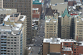 Arial shot of downtown Montreal in winter,