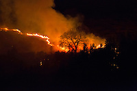 Pictured: Grass fire over Wattsville, north west of Newport, Wales. 22nd April 2015<br />