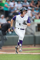 Toby Thomas (4) of the Winston-Salem Dash hustles down the first base line against the Potomac Nationals at BB&T Ballpark on July 15, 2016 in Winston-Salem, North Carolina.  The Dash defeated the Nationals 10-4.  (Brian Westerholt/Four Seam Images)