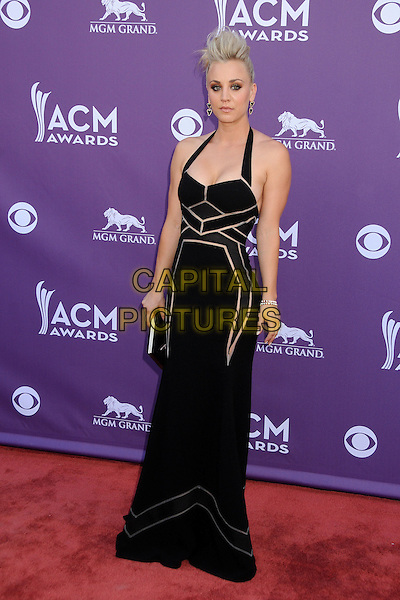 Kaley Cuoco.48th Annual Academy of Country Music Awards - Arrivals held at the MGM Grand Garden Arena, Las Vegas, California, USA..April 7th, 2013.full length black halterneck dress beige trim detail clutch bag hair.CAP/ADM/BP.©Byron Purvis/AdMedia/Capital Pictures.