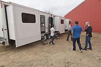 NWA Democrat-Gazette/FLIP PUTTHOFF <br /> Visitors tour mobile dressing rooms on Feb. 5 2019 at Farm Studios.