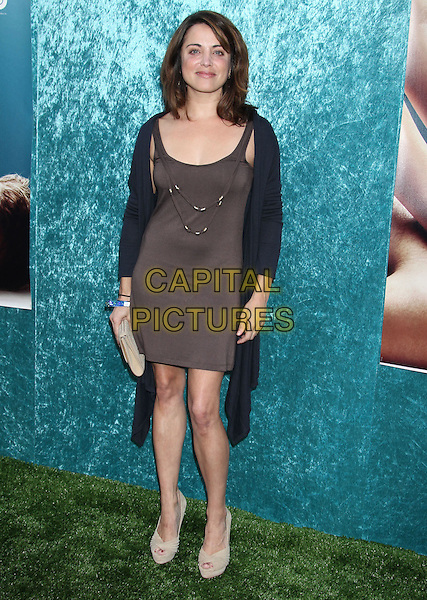 "ALANNA UBACH.HBO's ""Hung"" Season Two Los Angeles Premiere held at the Paramount Theatre Paramount Pictures Studio, Hollywood, California, USA..June 23rd, 2010.full length alana brown dress black cardigan beige peep toe shoes clutch bag.CAP/ADM/MJ.©Michael Jade/AdMedia/Capital Pictures."