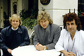 Moody Blues -  L-R: Justin Hayward, John Lodge, Patrick Moraz.- photographed exlcusively in London UK - 10 Jun 1986.   Photo credit: George Chin/IconicPix