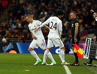 Pictured: (L-R) Garry Monk, Ki Sung-Yueng. Sunday 24 February 2013<br /> Re: Capital One Cup football final, Swansea v Bradford at the Wembley Stadium in London.