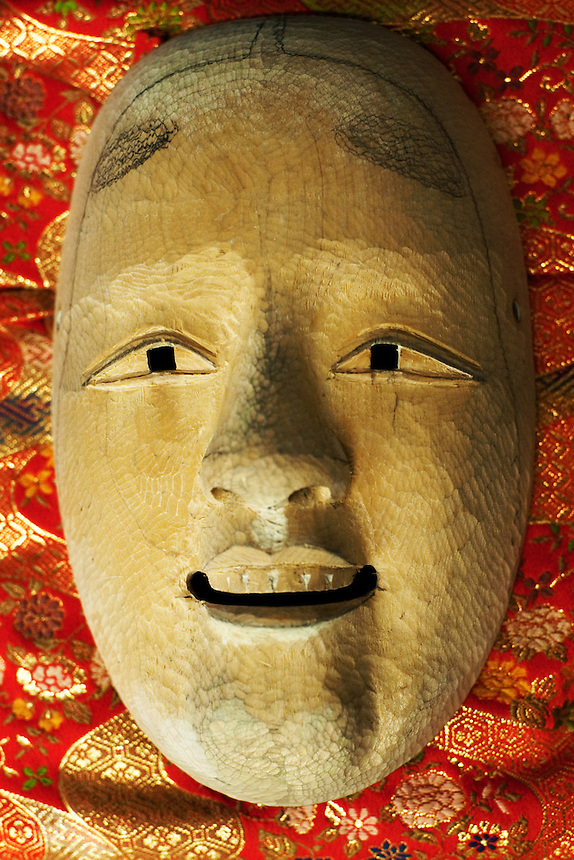 Example mask in late stages of carving - Kojima Oun.