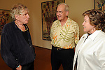 From left: Artist Dennis Oppenheim, Clint Willour and Pam Ingersoll at a private reception for Oppenheim at the Devin Borden Hiram Butler Gallery Friday July 30,2010.(Dave Rossman/For the Chronicle)