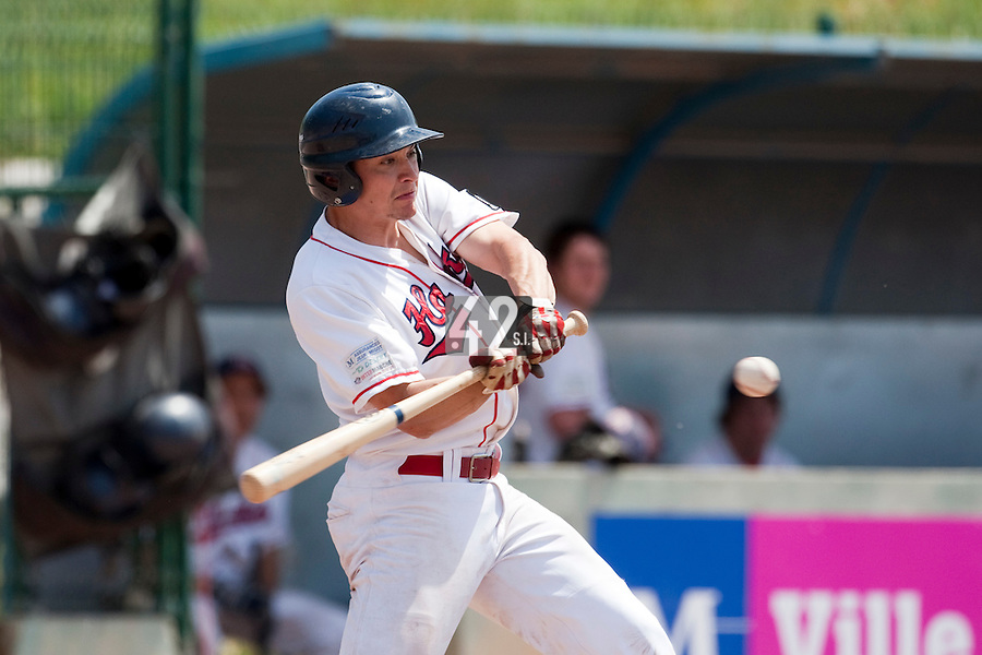 24 May 2009: Jean-Pascal Furet of La Guerche is seen at bat during the 2009 challenge de France, a tournament with the best French baseball teams - all eight elite league clubs - to determine a spot in the European Cup next year, at Montpellier, France. Senart wins 8-5 over La Guerche.