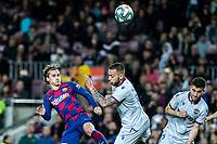 2nd February 2020; Camp Nou, Barcelona, Catalonia, Spain; La Liga Football, Barcelona versus Levante; Antoine Griezmann of FC Barcelona gets to the crossed ball first