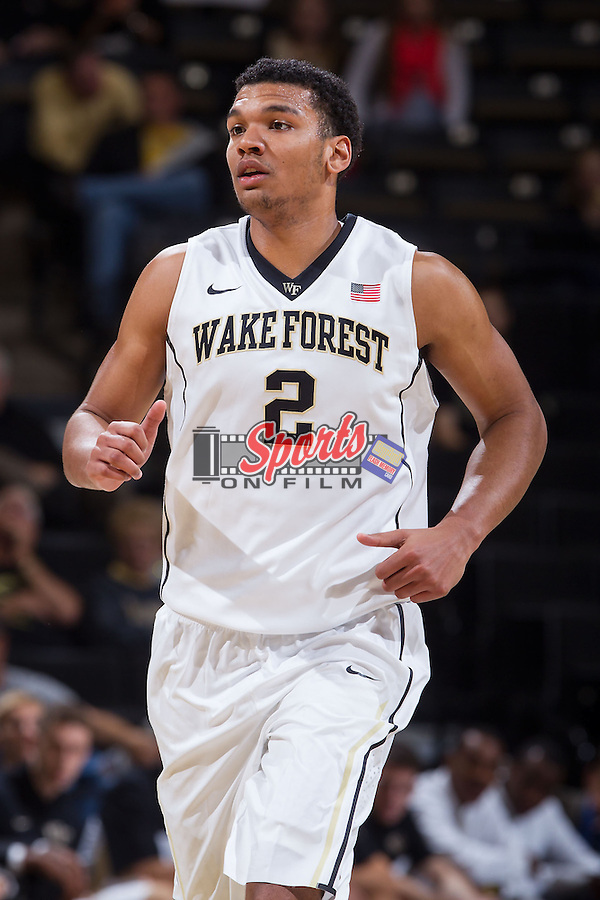 Devin Thomas (2) of the Wake Forest Demon Deacons hustles down the court during first half action against the Brevard Tornados at the LJVM Coliseum on November 1, 2013 in Winston-Salem, North Carolina.  The Demon Deacons defeated the Tornados 93-66. (Brian Westerholt/Sports On Film)