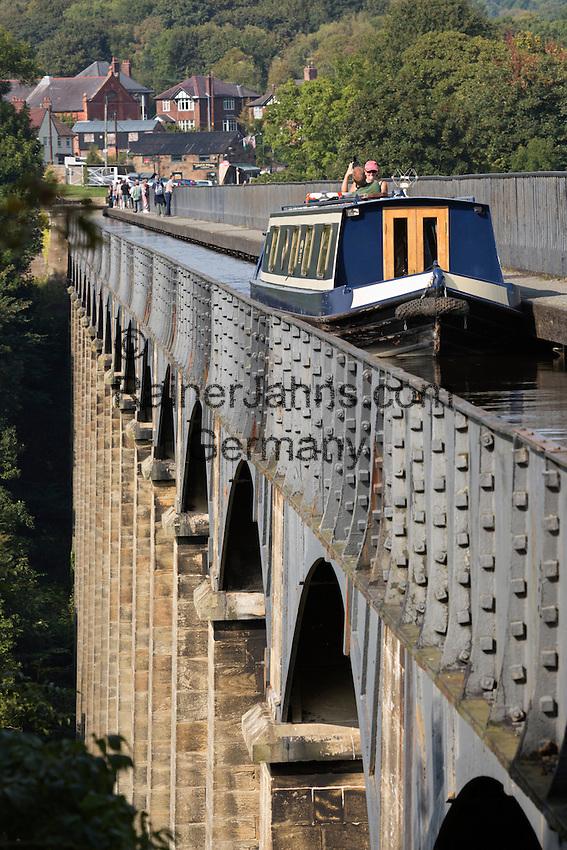 United Kingdom, Wales, Denbighshire, Llangollen: Pontcysyllte Aqueduct (built 1795 to 1805) and the Ellesmere Canal | Grossbritannien, Wales, Denbighshire, Llangollen: Pontcysyllte Aquaedukt (erbaut 1795 bis 1805) und der Ellesmere Canal