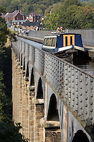 United Kingdom, Wales, Denbighshire, Llangollen: Pontcysyllte Aqueduct (built 1795 to 1805) and the Ellesmere Canal | Grossbritannien, Wales, Denbighshire, Llangollen: Pontcysyllte Aquaedukt (erbaut 1795 bis 1805) und der Ellesmere Canal