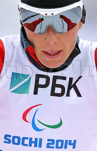 07.03.2014. Sochi, Russia.  Andrea Eskau of Germany practices during a training session at Laura Cross-country Ski & Biathlon Center at the Sochi 2014 Paralympic Winter Games, Krasnaya Polyana, Russia, 07 March 2014.