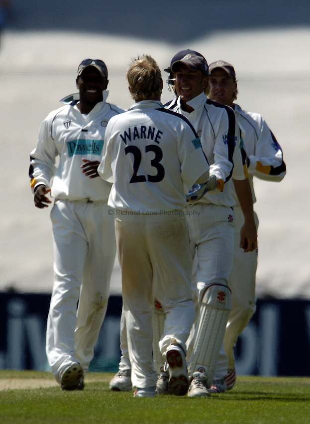 Photo: Olly Greenwood..Hampshire CCC v Yorkshire CCC. LV County Championship, Division 1. 28/07/2006.  .Hampshire's Shane Warne (23) celebrates the wicket of Yorkshire's Joe Sayers.
