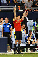 4th Offical Tyler Ploeger indicates there will be a minimum of 3 minutes stoppage time... Sporting KC defeated San Jose Earthquakes 1-0 at LIVESTRONG Sporting Park, Kansas City, Kansas.