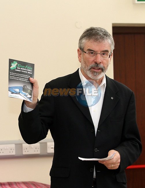 Gerry Adams at the Launch of the Sinn Fein Drug Awareness Booklet at the Lifestyle Community Centre...(Photo credit should read Jenny Matthews www.newsfile.ie)....