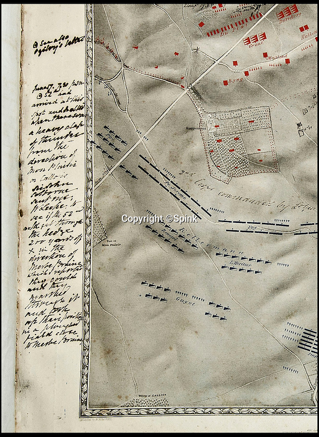BNPS.co.uk (01202 558833)<br /> Pic: Spink/BNPS<br /> <br /> Rare hand-annotated maps charting a 17-year-old officer's perilous journey across the bloody Battle of Waterloo have emerged at auction.<br /> <br /> They capture Ensign William Leek's first taste of combat as he carried his regiment's colours deep into the clash which crushed Napoleon Bonaparte. <br /> <br /> The teenager's dispassionate recollection of the battle belies the danger he faced as he drove deep into the flank of the elite Imperial Guard.