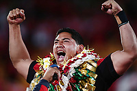 Jason Taumalolo of Tonga performs the Sipi Tau for the supporters after the Semi Final against England. 2017 Rugby League World Cup Semi Final, England v Tonga at Mt Smart Stadium, Auckland, New Zealand. 25 November 2017 © Copyright Photo: Anthony Au-Yeung / www.photosport.nz MANDATORY BYLINE/CREDIT : Andrew Cornaga/SWpix.com/PhotosportNZ