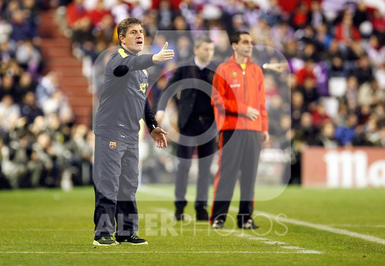 Real Valladolid's  and F.C. barcelona's  during La Liga match. Jordi Roura. December 22,2012. (ALTERPHOTOS/Victor Blanco)