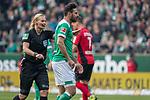 13.04.2019, Weser Stadion, Bremen, GER, 1.FBL, Werder Bremen vs SC Freiburg, <br /> <br /> DFL REGULATIONS PROHIBIT ANY USE OF PHOTOGRAPHS AS IMAGE SEQUENCES AND/OR QUASI-VIDEO.<br /> <br />  im Bild<br /> Claudio Pizarro (Werder Bremen #04)<br /> Bibiana Steinhaus (Schiedsrichter / Referee) <br /> <br /> <br /> Foto &copy; nordphoto / Kokenge